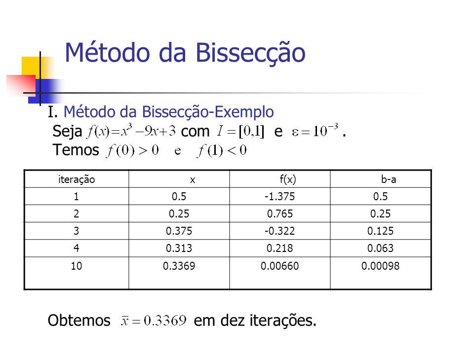 Método da Bissecção I. Método da Bissecção-Exemplo Seja com e . Temos