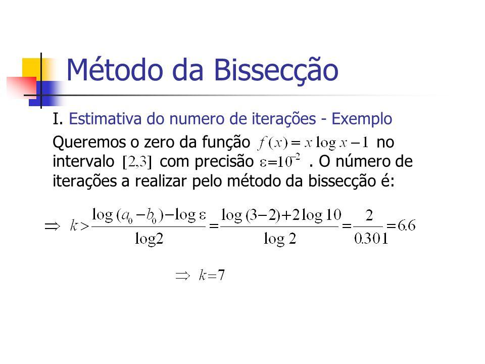 Método da Bissecção I. Estimativa do numero de iterações - Exemplo