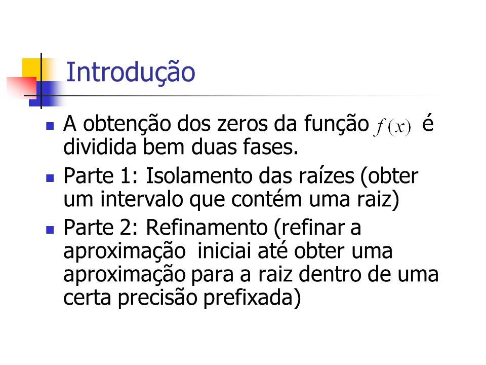 Introdução A obtenção dos zeros da função é dividida bem duas fases.