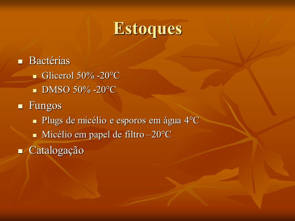 Estoques Bactérias Fungos Catalogação Glicerol 50% -20°C