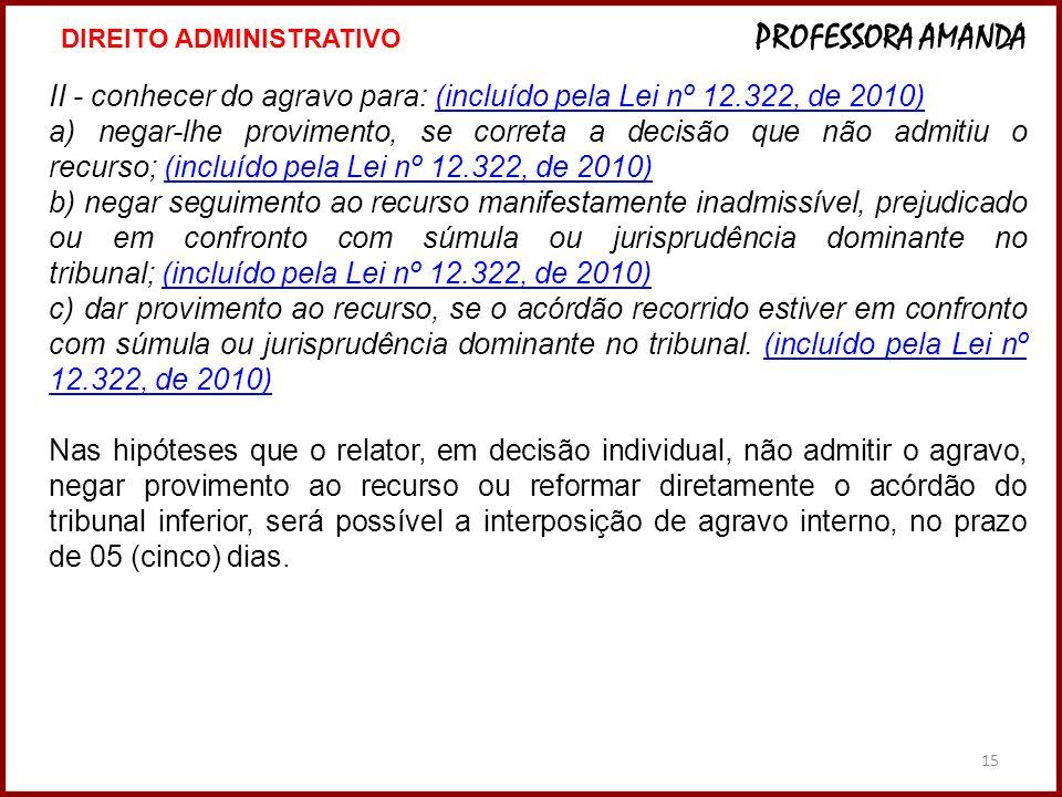 II - conhecer do agravo para: (incluído pela Lei nº 12.322, de 2010)