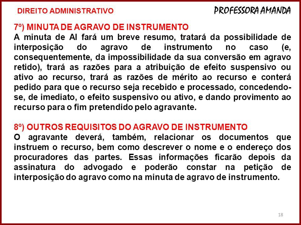 7º) MINUTA DE AGRAVO DE INSTRUMENTO