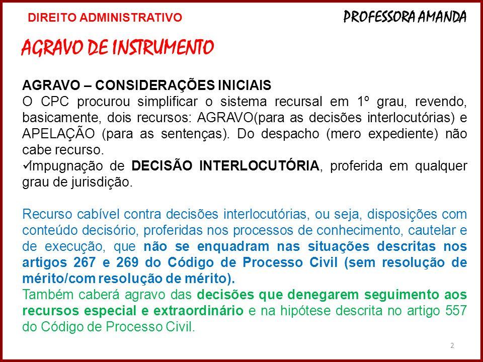 AGRAVO DE INSTRUMENTO AGRAVO – CONSIDERAÇÕES INICIAIS