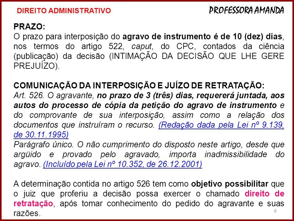 COMUNICAÇÃO DA INTERPOSIÇÃO E JUÍZO DE RETRATAÇÃO: