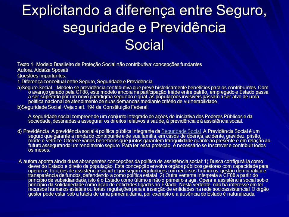 Explicitando a diferença entre Seguro, seguridade e Previdência Social