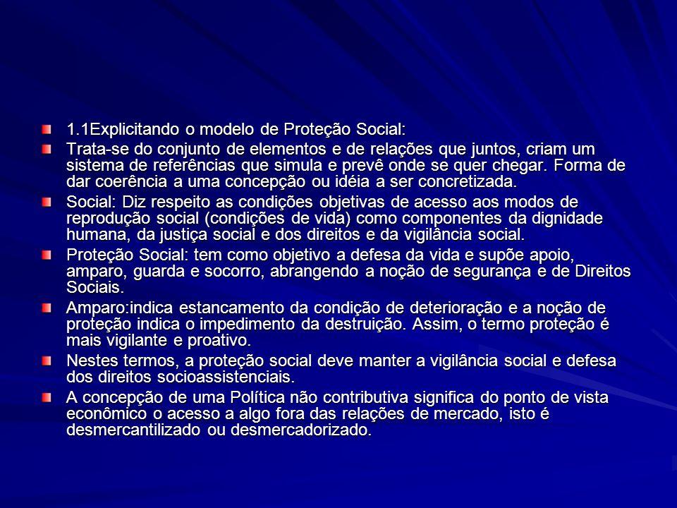 1.1Explicitando o modelo de Proteção Social: