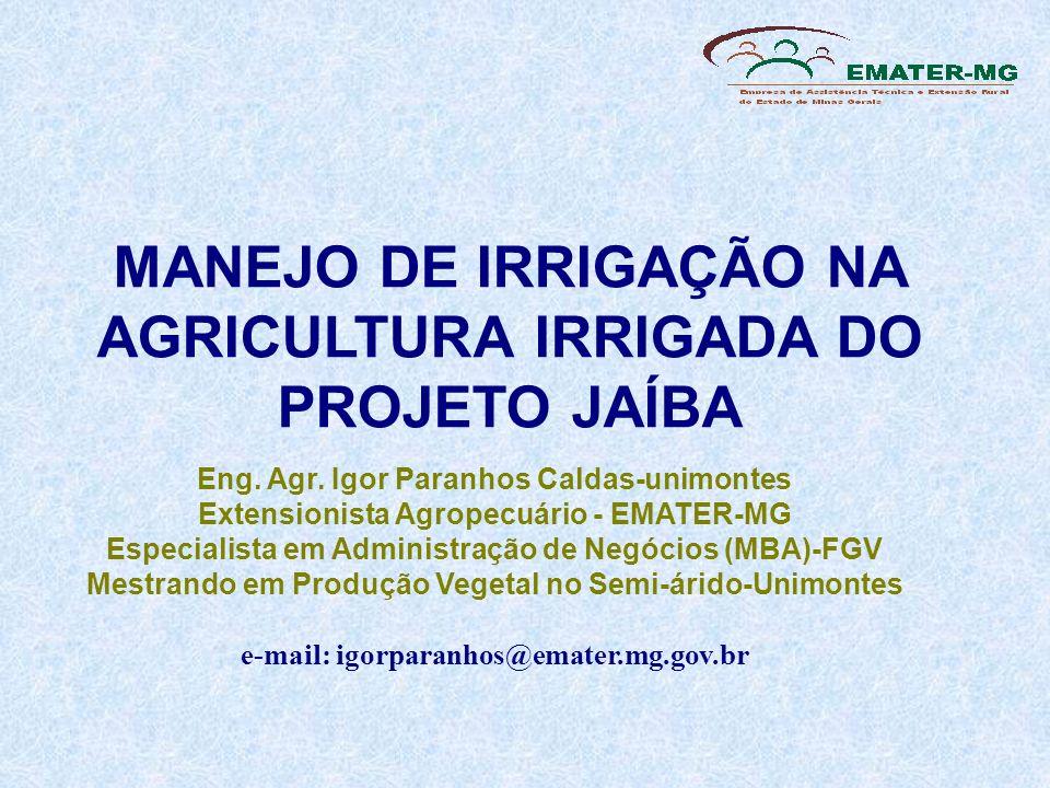 MANEJO DE IRRIGAÇÃO NA AGRICULTURA IRRIGADA DO PROJETO JAÍBA