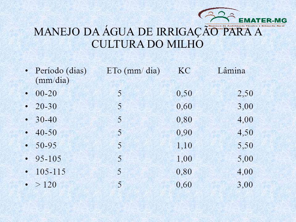 MANEJO DA ÁGUA DE IRRIGAÇÃO PARA A CULTURA DO MILHO