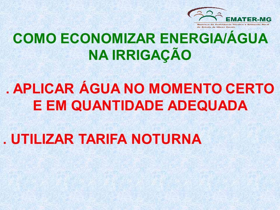 COMO ECONOMIZAR ENERGIA/ÁGUA NA IRRIGAÇÃO