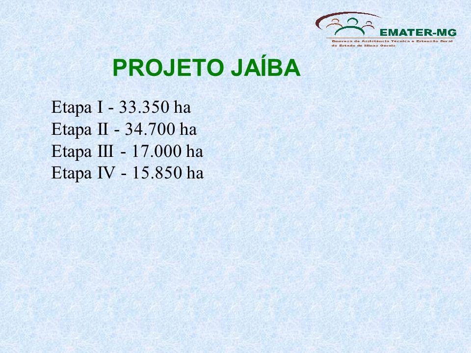 PROJETO JAÍBAEtapa I - 33.350 ha Etapa II - 34.700 ha Etapa III - 17.000 ha Etapa IV - 15.850 ha.