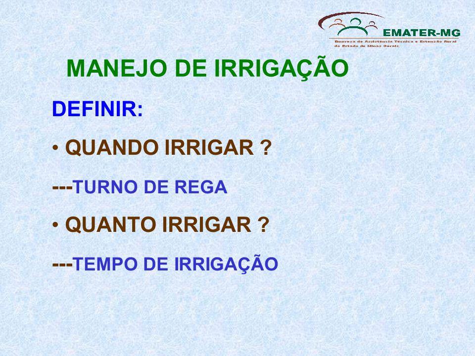 MANEJO DE IRRIGAÇÃO DEFINIR: QUANDO IRRIGAR ---TURNO DE REGA