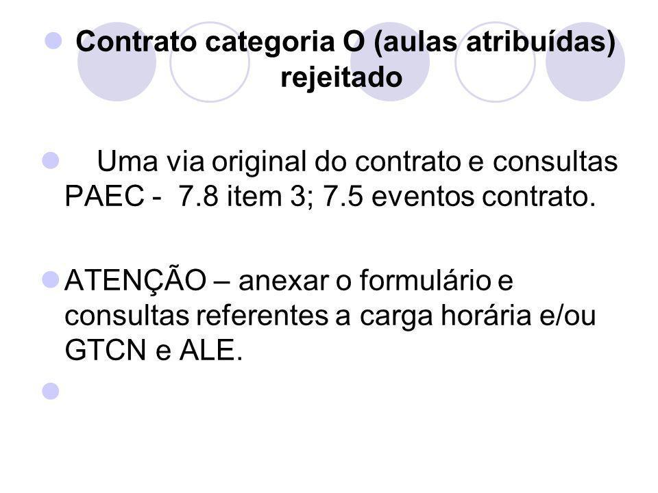 Contrato categoria O (aulas atribuídas) rejeitado