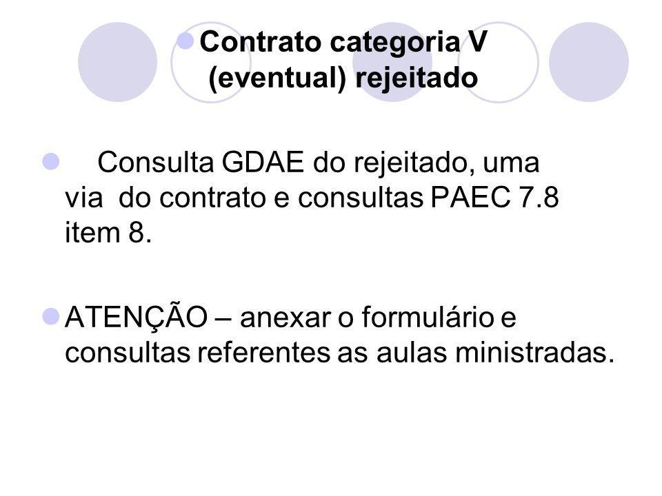 Contrato categoria V (eventual) rejeitado