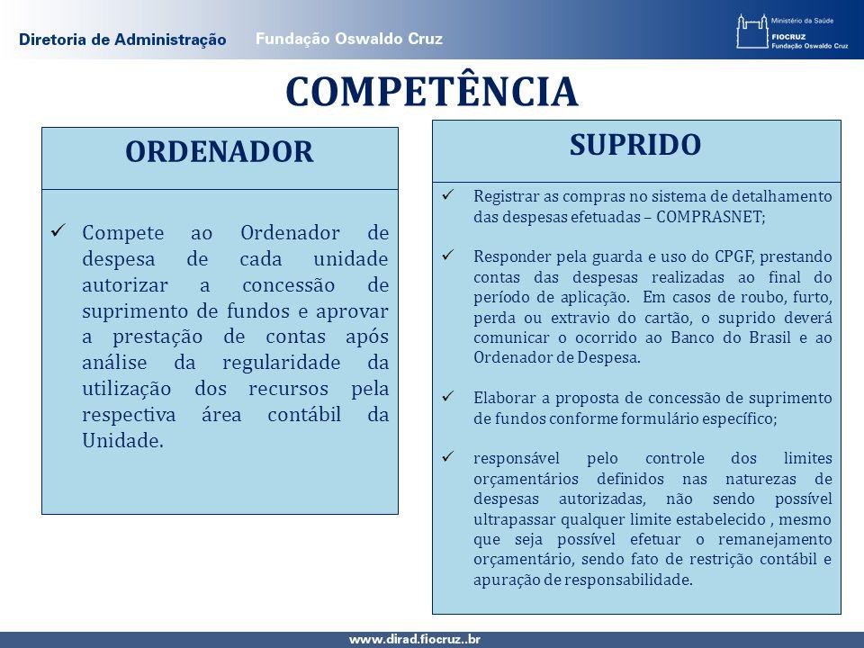 COMPETÊNCIA SUPRIDO ORDENADOR