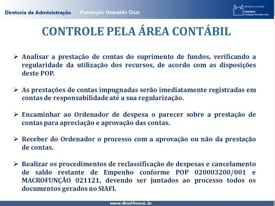 CONTROLE PELA ÁREA CONTÁBIL