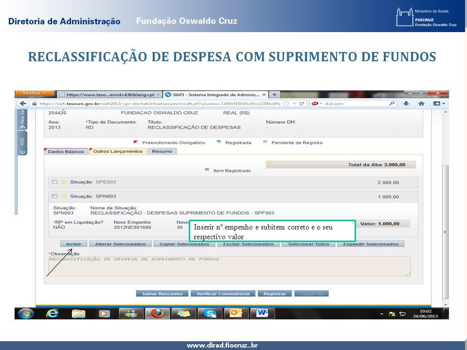 RECLASSIFICAÇÃO DE DESPESA COM SUPRIMENTO DE FUNDOS