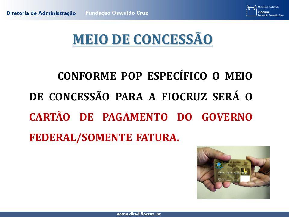 MEIO DE CONCESSÃO CONFORME POP ESPECÍFICO O MEIO DE CONCESSÃO PARA A FIOCRUZ SERÁ O CARTÃO DE PAGAMENTO DO GOVERNO FEDERAL/SOMENTE FATURA.