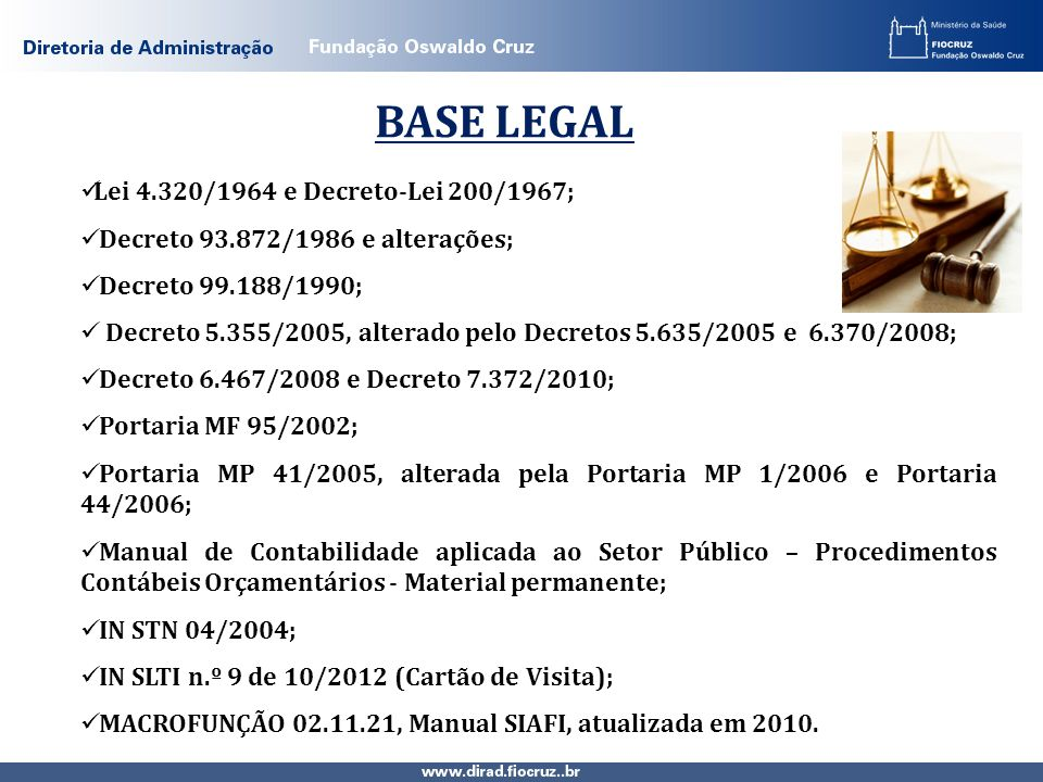 BASE LEGAL Lei 4.320/1964 e Decreto-Lei 200/1967;