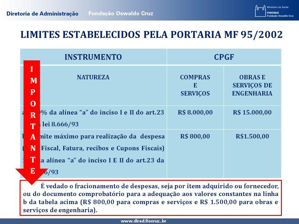 LIMITES ESTABELECIDOS PELA PORTARIA MF 95/2002