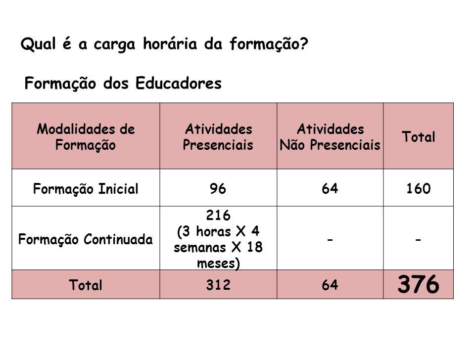 376 Qual é a carga horária da formação Formação dos Educadores