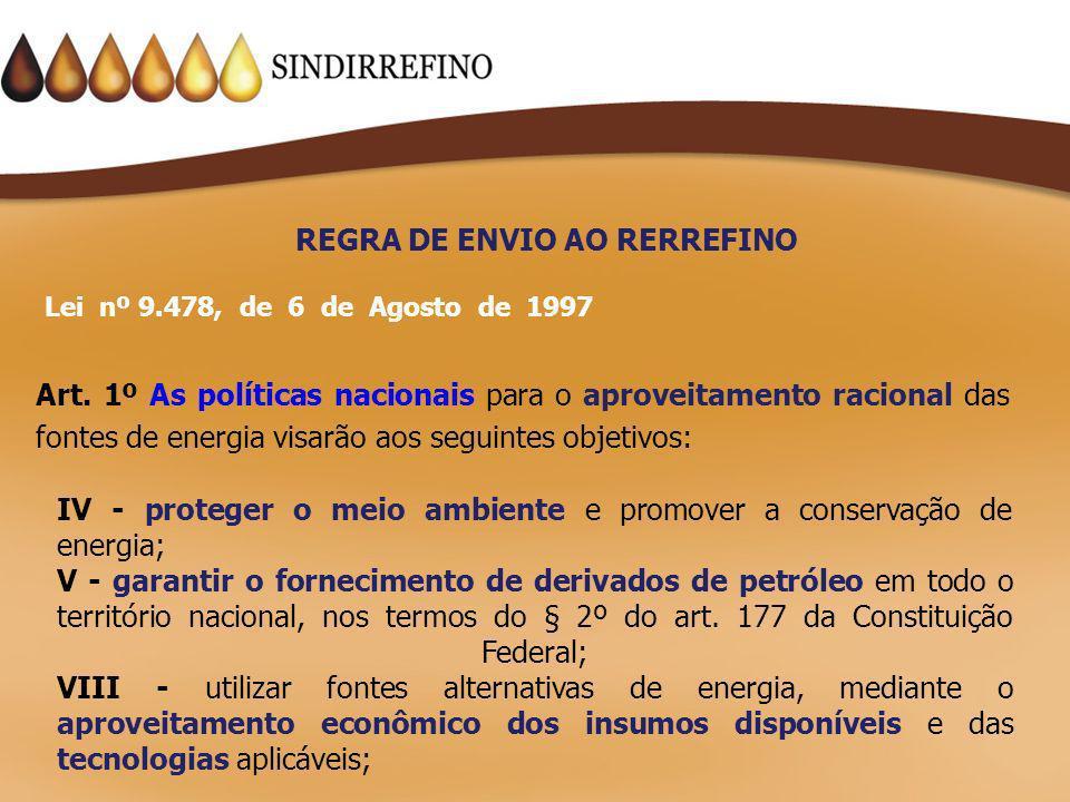REGRA DE ENVIO AO RERREFINO