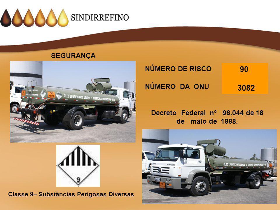 3082 SEGURANÇA NÚMERO DE RISCO 90 NÚMERO DA ONU