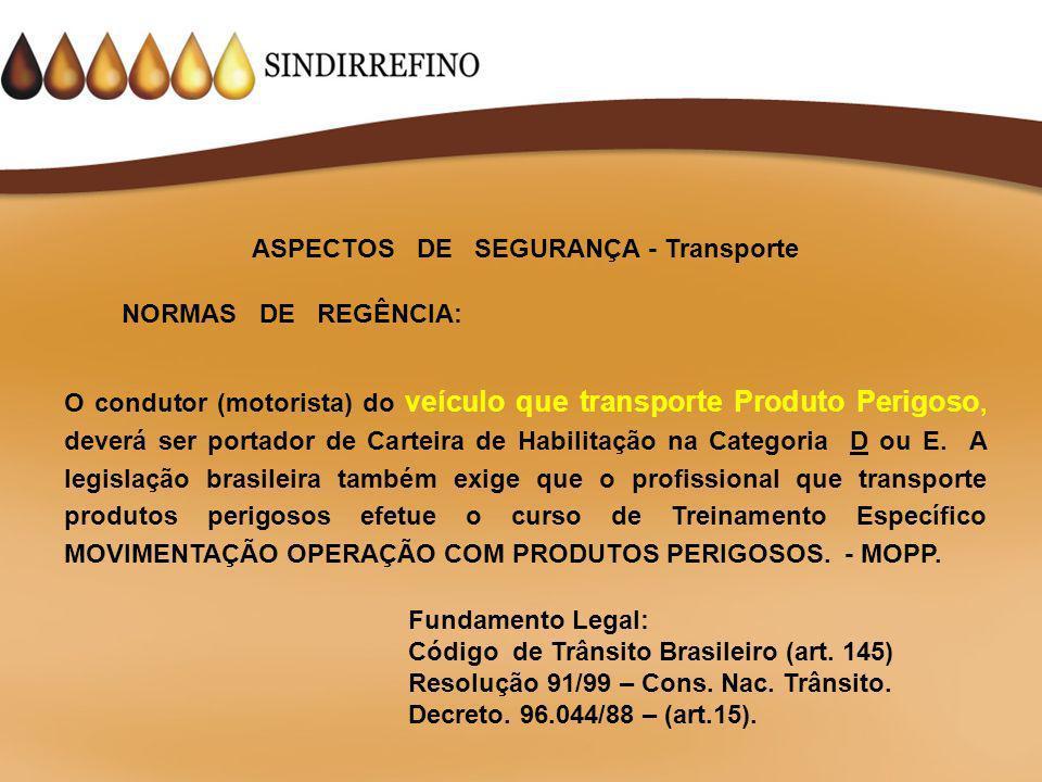 ASPECTOS DE SEGURANÇA - Transporte