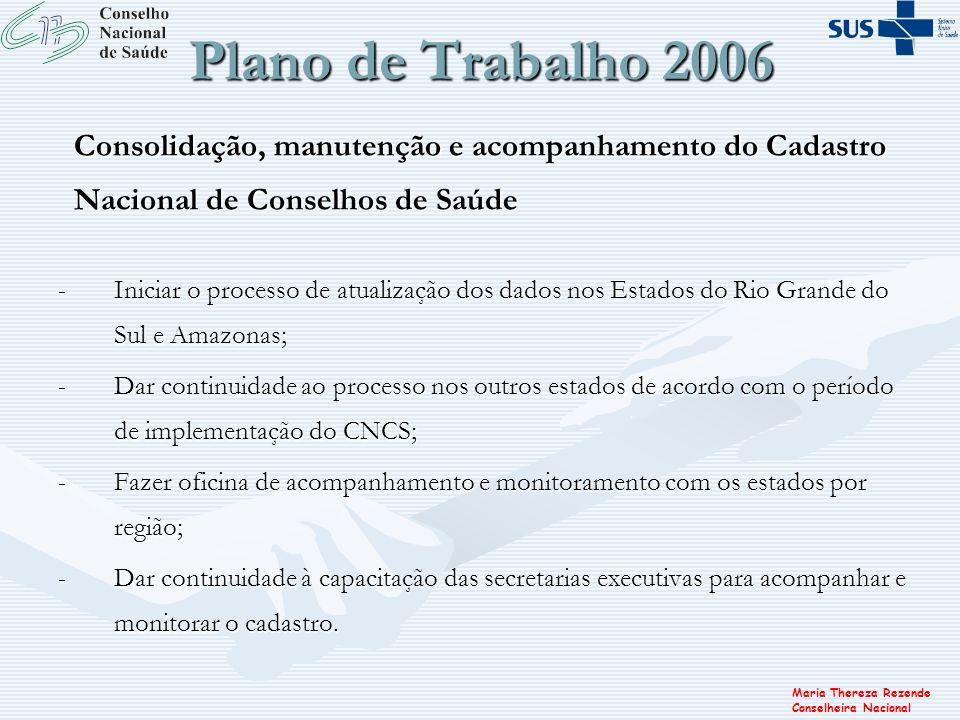 Plano de Trabalho 2006 Consolidação, manutenção e acompanhamento do Cadastro Nacional de Conselhos de Saúde.