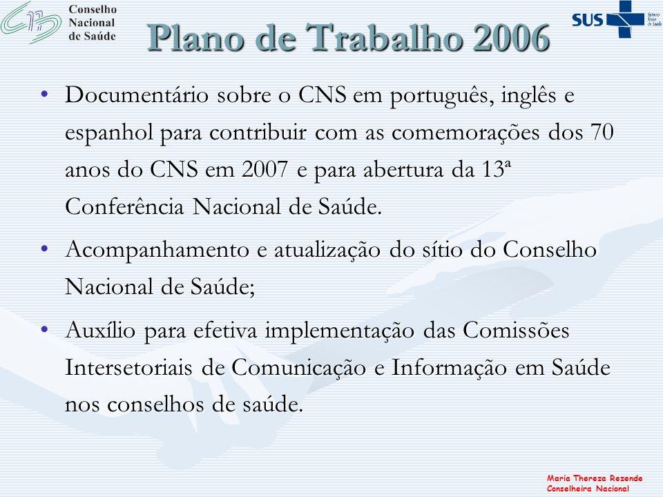Plano de Trabalho 2006