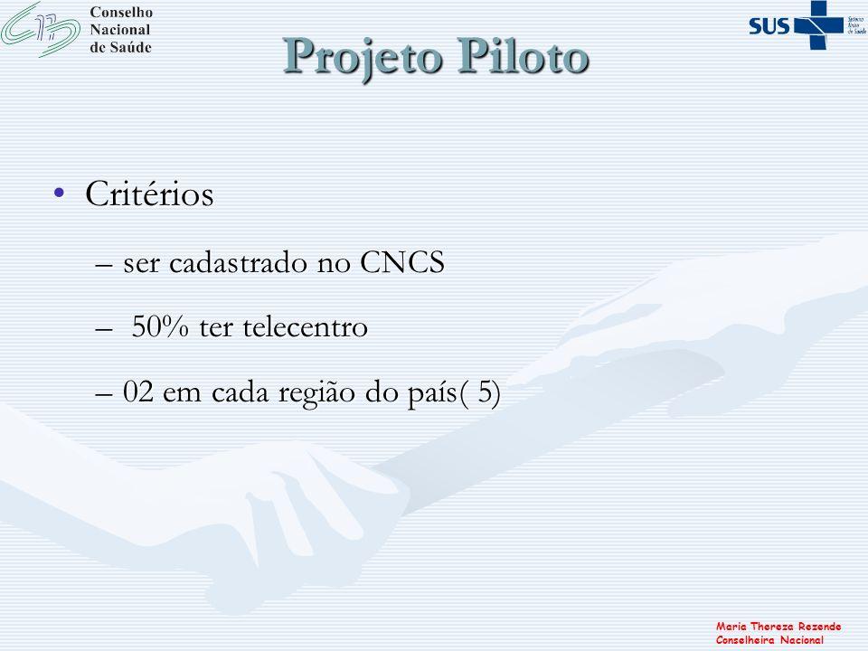 Projeto Piloto Critérios ser cadastrado no CNCS 50% ter telecentro