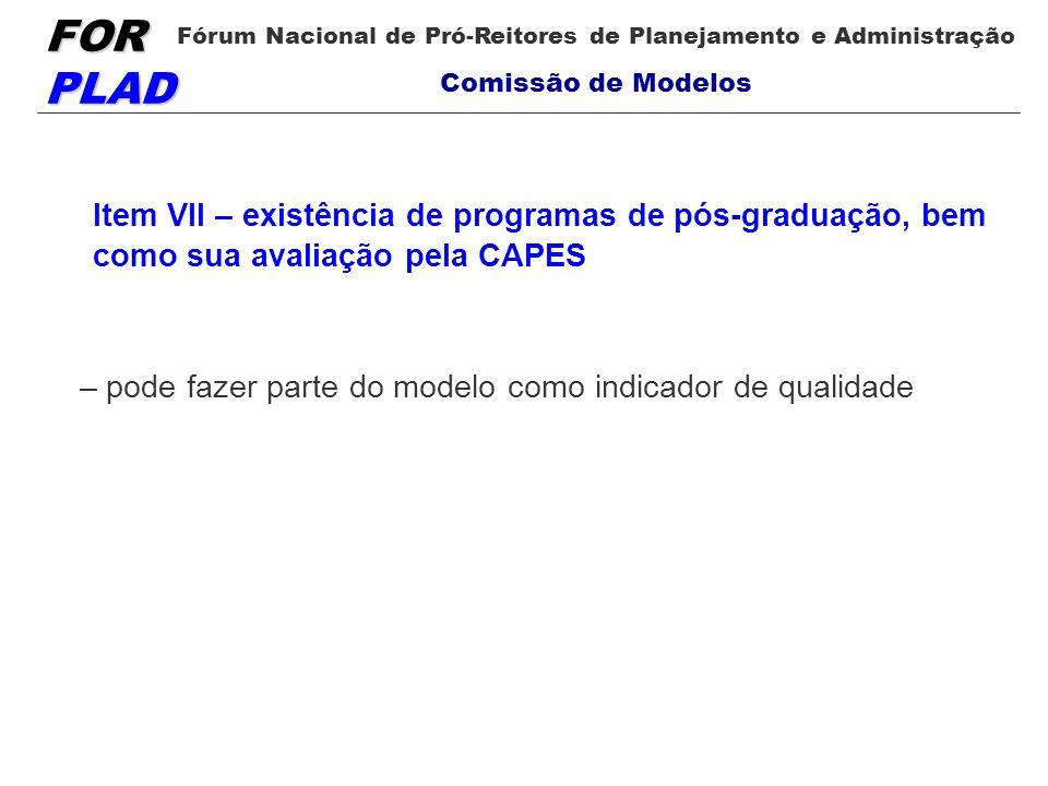 Item VII – existência de programas de pós-graduação, bem como sua avaliação pela CAPES