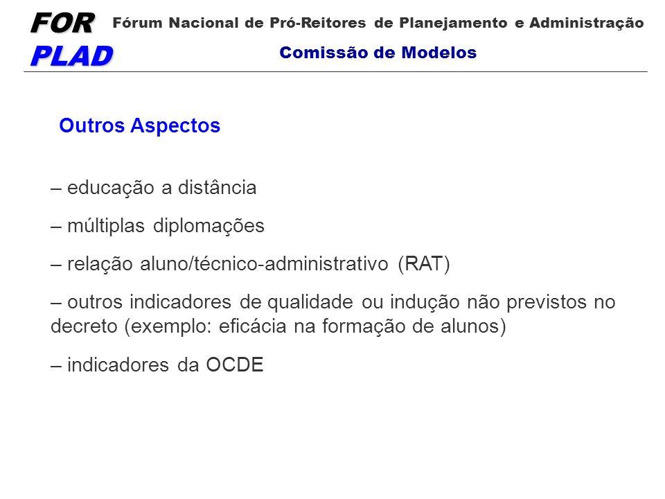 Outros Aspectos – educação a distância. – múltiplas diplomações. – relação aluno/técnico-administrativo (RAT)