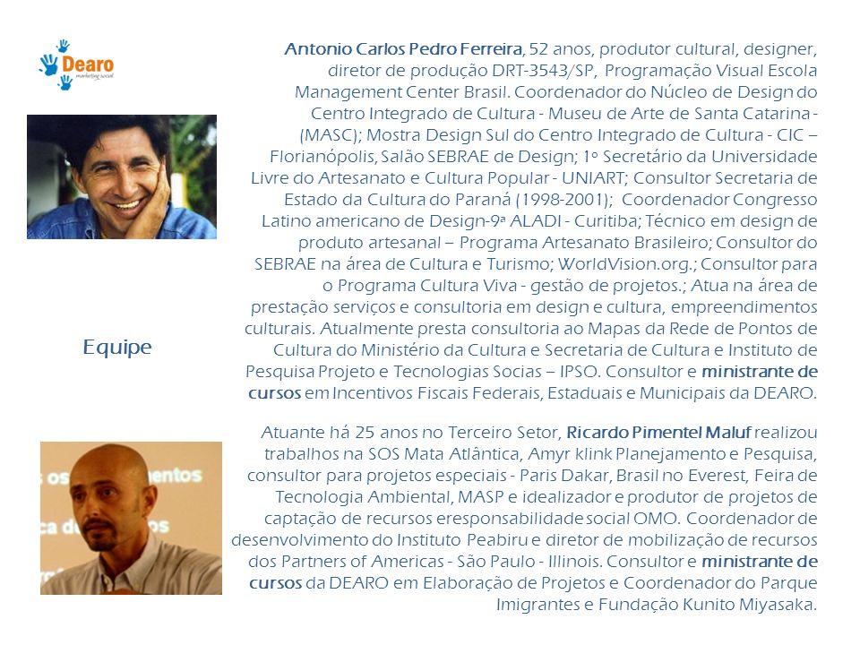 Antonio Carlos Pedro Ferreira, 52 anos, produtor cultural, designer, diretor de produção DRT-3543/SP, Programação Visual Escola Management Center Brasil. Coordenador do Núcleo de Design do Centro Integrado de Cultura - Museu de Arte de Santa Catarina - (MASC); Mostra Design Sul do Centro Integrado de Cultura - CIC – Florianópolis, Salão SEBRAE de Design; 1º Secretário da Universidade Livre do Artesanato e Cultura Popular - UNIART; Consultor Secretaria de Estado da Cultura do Paraná (1998-2001); Coordenador Congresso Latino americano de Design-9ª ALADI - Curitiba; Técnico em design de produto artesanal – Programa Artesanato Brasileiro; Consultor do SEBRAE na área de Cultura e Turismo; WorldVision.org.; Consultor para o Programa Cultura Viva - gestão de projetos.; Atua na área de prestação serviços e consultoria em design e cultura, empreendimentos culturais. Atualmente presta consultoria ao Mapas da Rede de Pontos de Cultura do Ministério da Cultura e Secretaria de Cultura e Instituto de Pesquisa Projeto e Tecnologias Socias – IPSO. Consultor e ministrante de cursos em Incentivos Fiscais Federais, Estaduais e Municipais da DEARO.