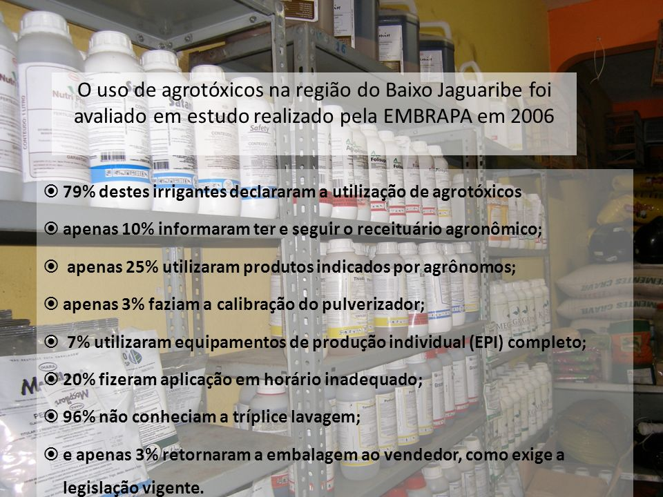 O uso de agrotóxicos na região do Baixo Jaguaribe foi avaliado em estudo realizado pela EMBRAPA em 2006