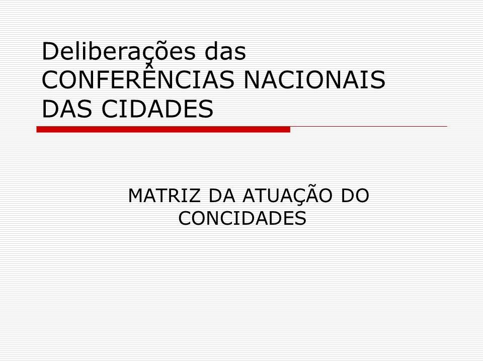 Deliberações das CONFERÊNCIAS NACIONAIS DAS CIDADES