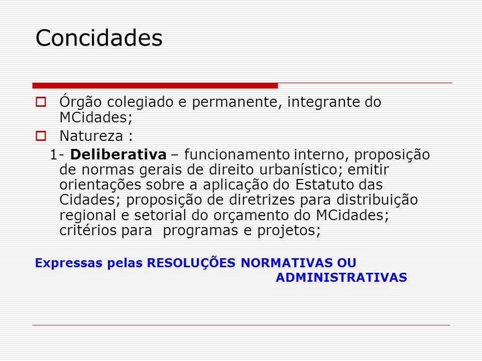 Concidades Órgão colegiado e permanente, integrante do MCidades;
