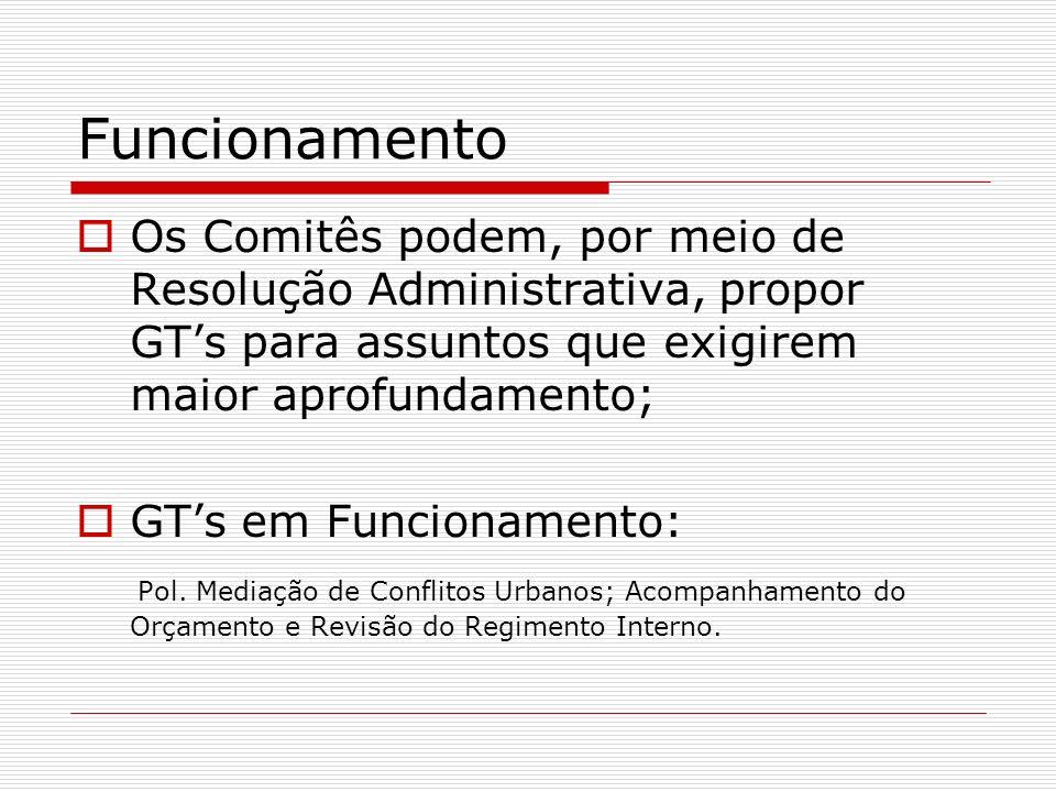 FuncionamentoOs Comitês podem, por meio de Resolução Administrativa, propor GT's para assuntos que exigirem maior aprofundamento;