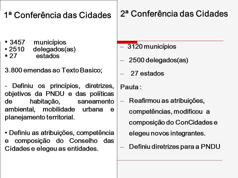 2ª Conferência das Cidades 1ª Conferência das Cidades