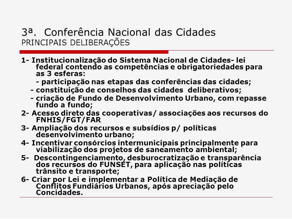 3ª. Conferência Nacional das Cidades PRINCIPAIS DELIBERAÇÕES