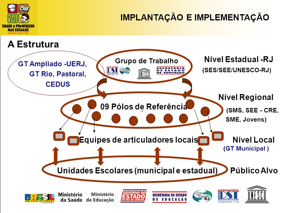 A Estrutura IMPLANTAÇÃO E IMPLEMENTAÇÃO Nível Estadual -RJ