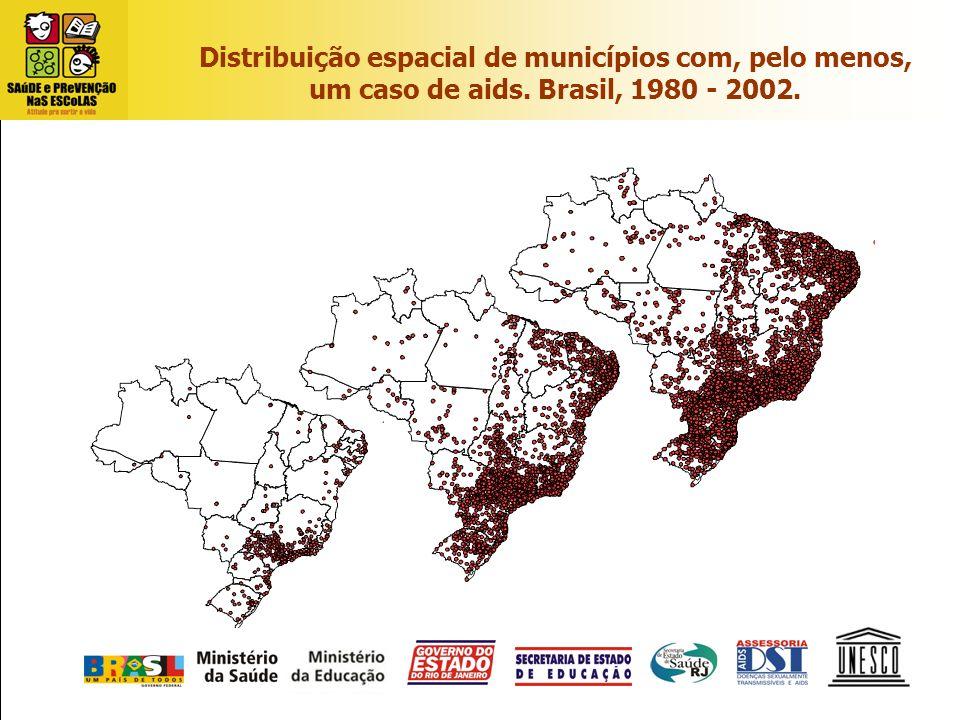 Distribuição espacial de municípios com, pelo menos, um caso de aids