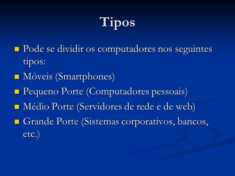 Tipos Pode se dividir os computadores nos seguintes tipos: