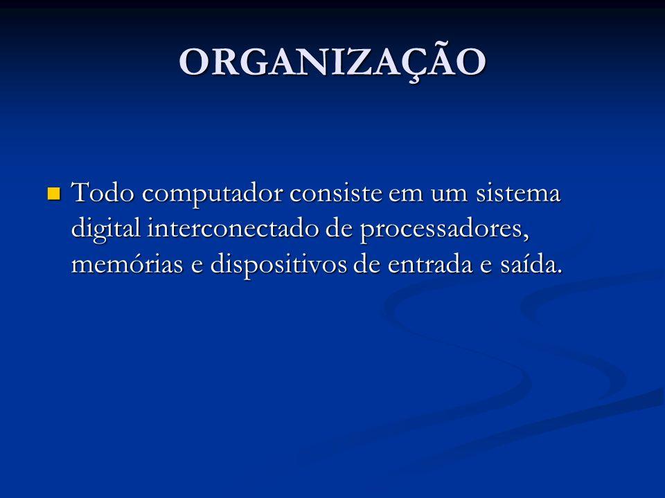 ORGANIZAÇÃO Todo computador consiste em um sistema digital interconectado de processadores, memórias e dispositivos de entrada e saída.