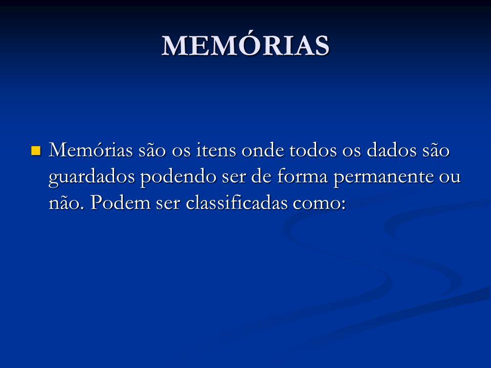 MEMÓRIAS Memórias são os itens onde todos os dados são guardados podendo ser de forma permanente ou não.