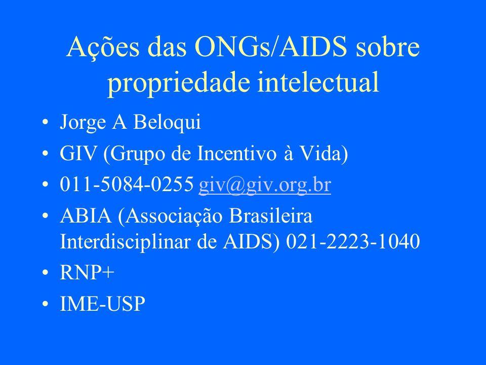 Ações das ONGs/AIDS sobre propriedade intelectual