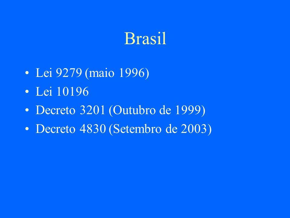 Brasil Lei 9279 (maio 1996) Lei 10196 Decreto 3201 (Outubro de 1999)
