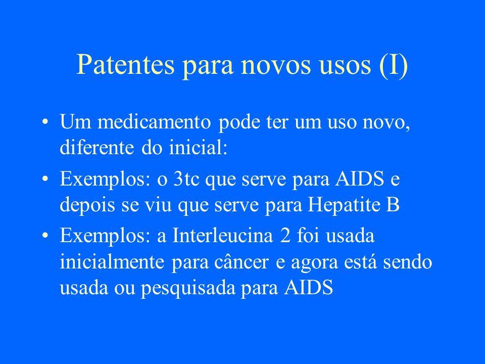 Patentes para novos usos (I)