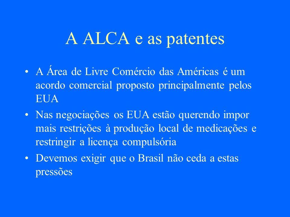A ALCA e as patentesA Área de Livre Comércio das Américas é um acordo comercial proposto principalmente pelos EUA.