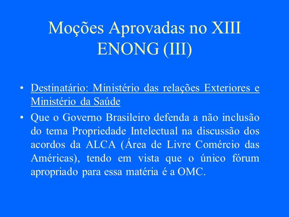 Moções Aprovadas no XIII ENONG (III)