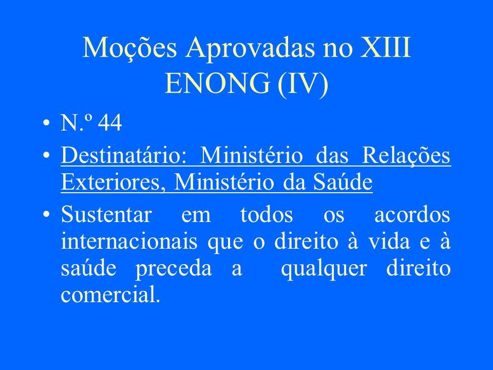 Moções Aprovadas no XIII ENONG (IV)